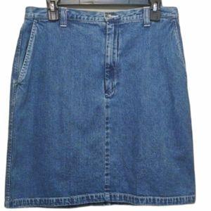 Eddie Bauer Blue Denim Skirt Size 12 EUC